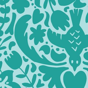 Two-Tone Tropical Floral Green
