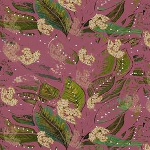 Pretty Autumn Plum Colored flowering  Vine Wallpaper - Hand Crafted Botanicals