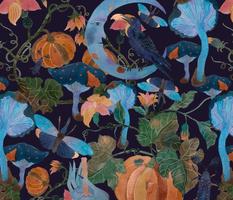 Watercolor Halloween with pumpkin, moon, crow, mushrooms, bug, moth, witch hand
