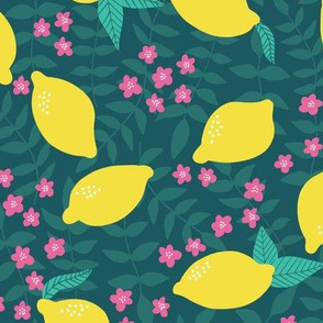 Lovely Lemon Yellow & Pink & Green Floral