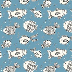 Swimming Fish Light Blue