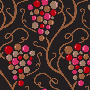 On the Vine Grape Vineyard Design in Rich Brown, Red and Fuschia and Neutrals- UnBlink Studio by Jackie Tahara