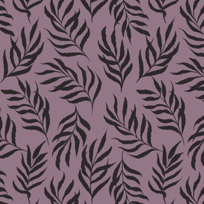 Earthy abstract leaves-black