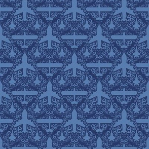 Aircraft Damask (Navy Small)