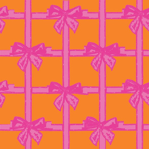 Basket weave ribbons and bows - hot pink & orange