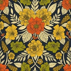 Modern Floral Pattern in Orange, Yellow, Green & Navy