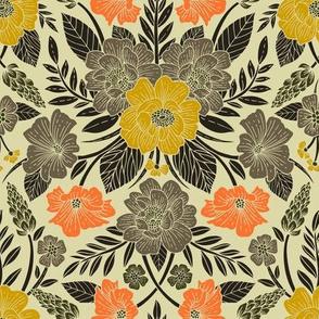 Modern Botanical Print w/ Flowers in Yellow, Orange, Black & Gray