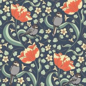 Chickadees and Tulips - Navy