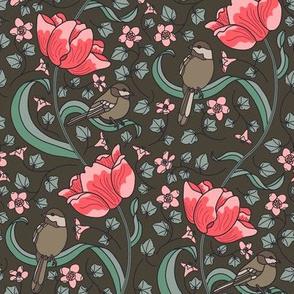 Chickadees and Tulips - Brown