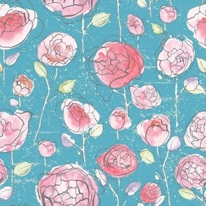 Empress Roses - Teal