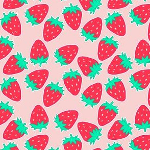 Red Strawberries on Pink