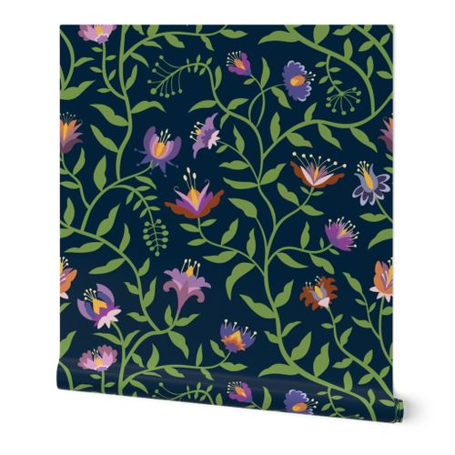 Folk Flowers Climbing Vines in Fall Colors - Large Scale