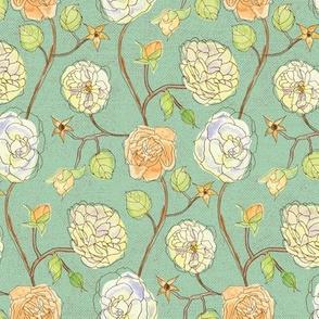 Gwendolyn's Roses - Celadon Green