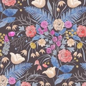 Retro Watercolour Kitchen Pottery - Dark Blue