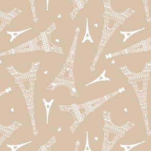 Minimal Eiffel Tower for Paris lovers romantic french travel icon design sand beige latte