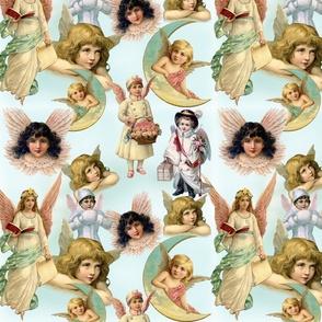 Seafoam Vintage Angels Pattern
