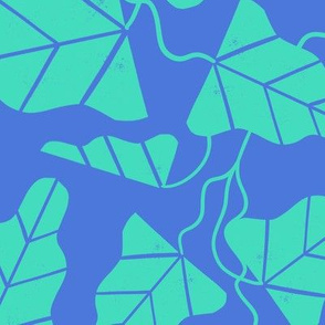 Blockprint Vines Large - green and blue