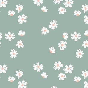 Boho buttercup retro flower garden minimal daisy flowers scandinavian trend style nursery design stone sage moody green