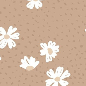 Boho buttercup retro flower garden and spots minimal daisy flowers scandinavian trend style nursery design beige latte brown JUMBO