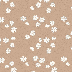 Boho buttercup retro flower garden and spots minimal daisy flowers scandinavian trend style nursery design beige sand latte brown SMALL