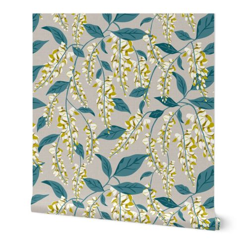 Wisteria Vines - Beige Teal Large Scale