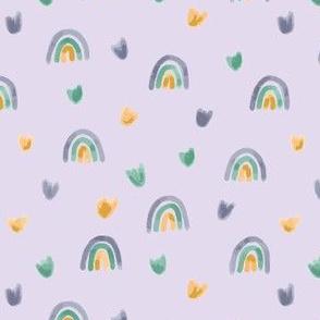Purple rainbows and flowers