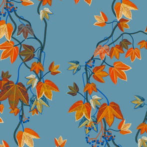 Autumn Vines-blue-no birds