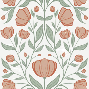 Textured Climbing Vine Floral - Art Deco inspired - large scale