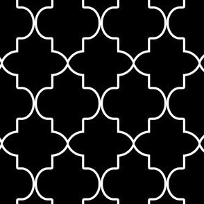 Modern Classic Moroccan Quatrefoil in Black and White