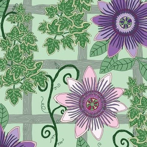 """Passion Flowers and Ivy (12"""") - green"""