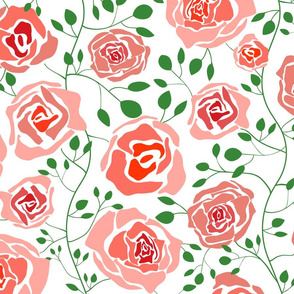 (L) Climbing Rose Garden - Abstract Florals - Large