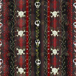 Vines O' Death  -- Red -- Halloween Wicca Skull Skeleton Victorian Vine Lace