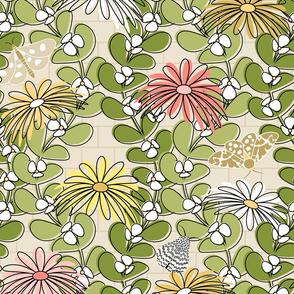 Green Vines, Flowers, Butterflies, Birds and Bricks
