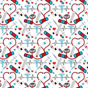 Nurse Stethoscope Shot EKG Pills Pattern Red and Blue