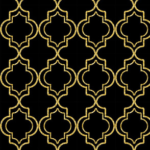 Moroccan Tile in Tile Black and Gold Tone
