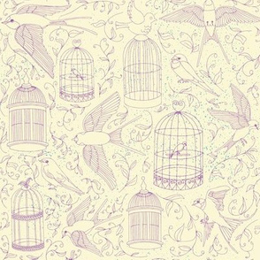 Swallows & Birdcages - Cream & Purple