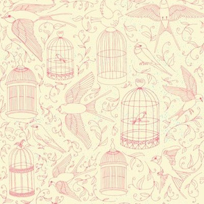 Swallows & Birdcages - Cream & Red