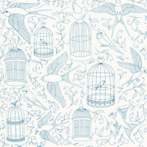 Swallows & Birdcages - Blue