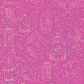Swallows & Birdcages - Fuchsia