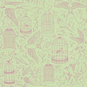 Swallows & Birdcages - Moss Green