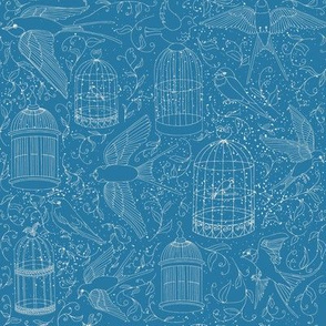 Swallows & Birdcages - Sky Blue