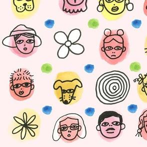 People Pattern (Pink)