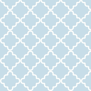 Ruffled Abstract Scalloped Edge Tiles Pattern in Blue and White