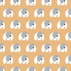 Scandinavian style elephants in a row sweet baby jungle animals nursery neutral ochre yellow gray white