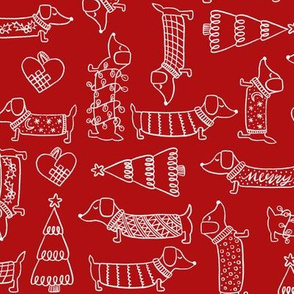 Christmas dogs puppy dachshund, holiday lights, Christmas tree red