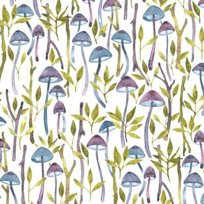 Whimsical Mushroom Forest - purple, teal and olive green on white