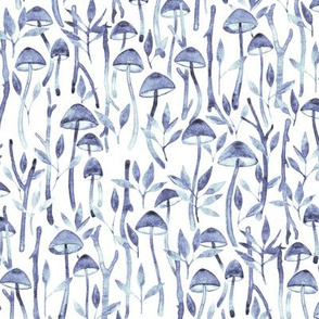 Whimsical Mushroom Forest - blue watercolor on white