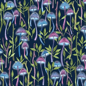 Whimsical Mushroom Forest - on navy