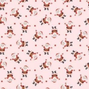 Ditsy Vintage Santas on blush - small scale