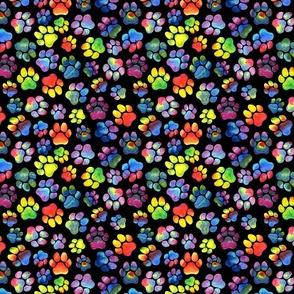Rainbow Pawprints on Black - Medium